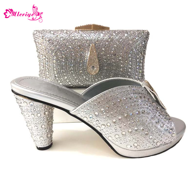 New Arrival Italian Shoes with Matching Bags Set Decorated with Rhinestone Women Italian African Party Pumps Shoes and Bag Set 7 pin 30mm male