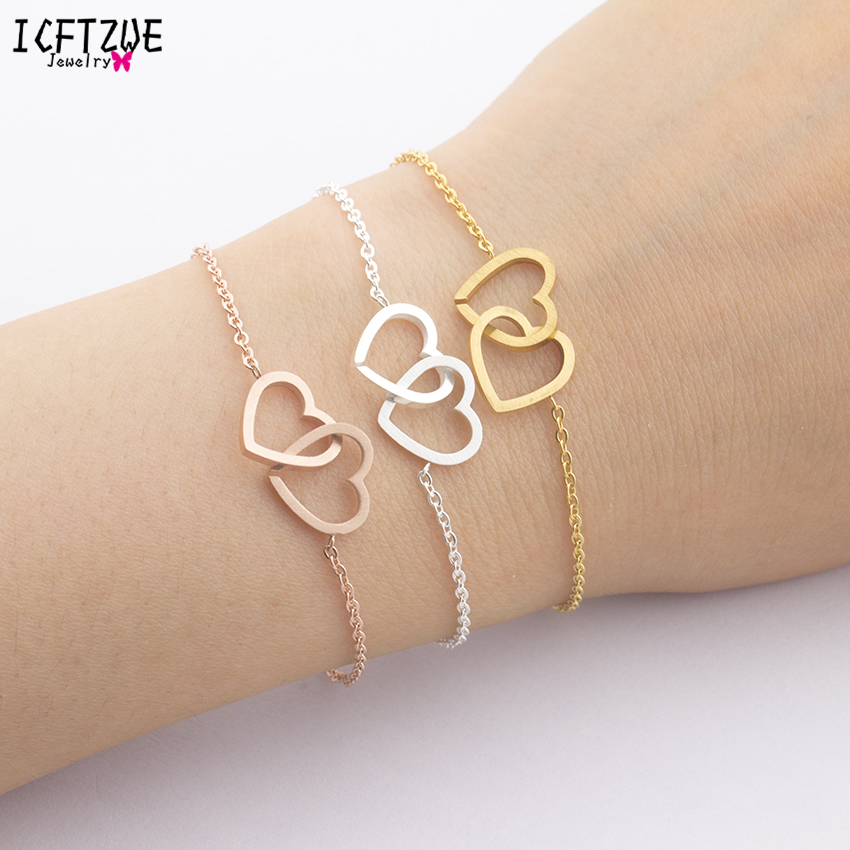 Body Jewelry Stainless Steel Bracelet Femme Hand Accessories For Women Gold Colour Double Heart BFF Bracelet  Christmas Gift