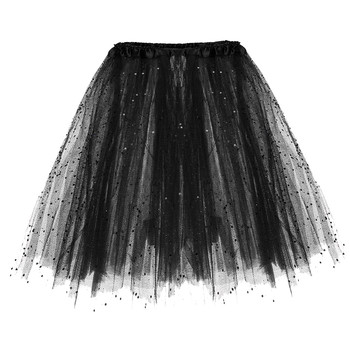 2019 New Fashion Women's Dancing Skirt 3 Layered Short Adult Tutu Skirt Paillette Elastic Solid Casual High Waist Jupe Femme 1