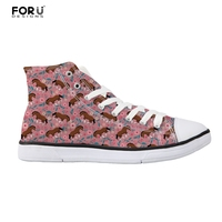FORUDESIGNS Canvas Women S Vulcanize Shoes Clydesdale Floral Brand Designer Women High Top Leisure Flats Shoes
