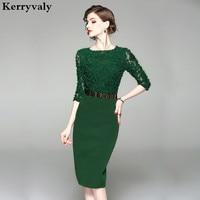 Elegant Tie Flower Green Bodycon Dress Womens Dresses New Arrival 2018 Office Summer Dress Sukienki Damskie Eleganckie K8934