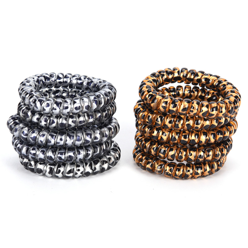 5Pcs Women Leopard Elastic Hairbands Scrunchie Telephone Wire Hairbands Ponytail Holder Gold/Silver