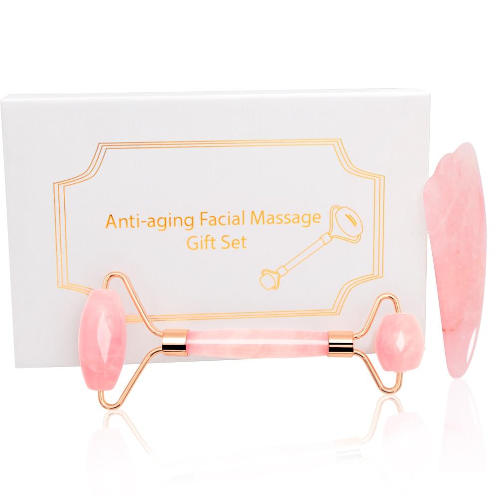 Rose Quartz Jade Roller Massage Facial Massager Machine Face Roller Facial Roller Face Slimming Massager Body Neck Head Massager