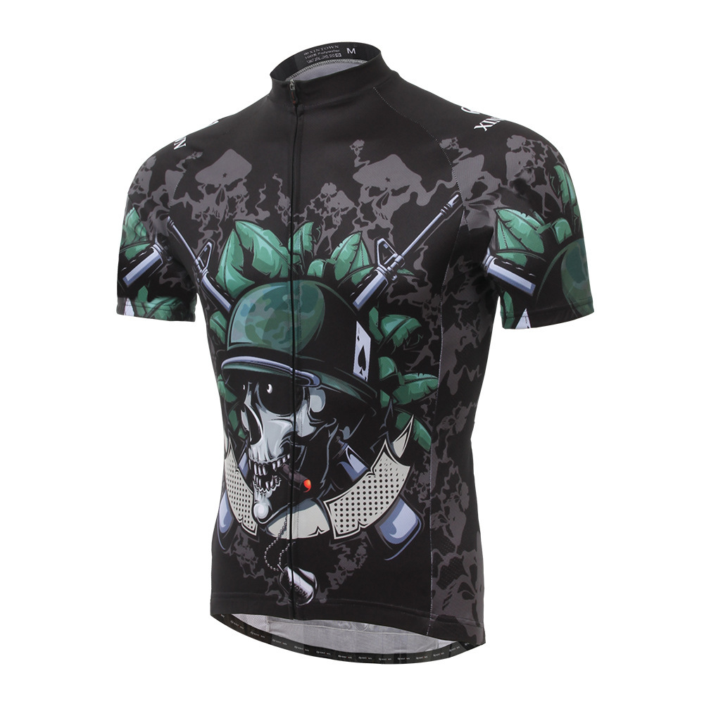 XINTOWN Skeleton Soldier Hood Summer Bicycle Short Sleeve Riding Suit Drying Jersey Riding Top sport thermal underwear