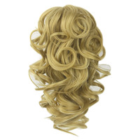 Soloowigs Bouncy Curly Artificial Hairpieces Medium Length Claw In Ponytails 8 Color For Choose