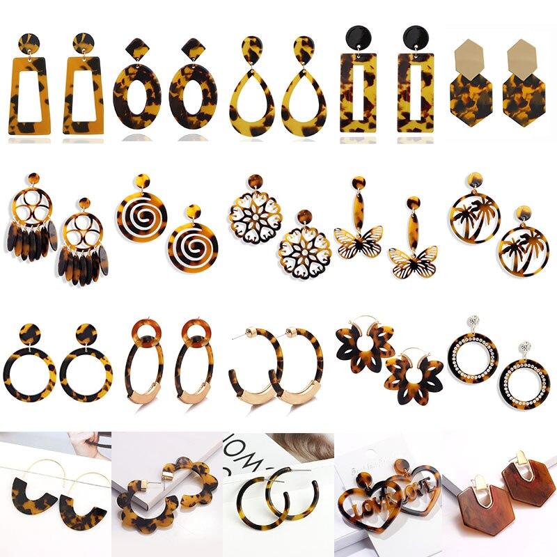 Frauen Große Geometrische Runde Platz Acryl Acetat Ohrringe Boho Braun Leopard Hängenden Tropfen Baumeln Pendientes Ohrringe Für Frauen
