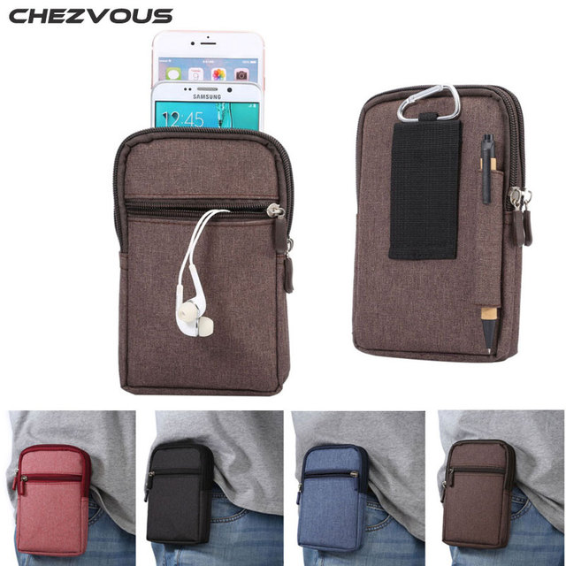 Cowboy Cloth Phone Pouch Belt Clip Bag for Huawei P9/P8 lite/mate7 8/Honor 6 plus Case with Pen Holder Waist Bag Outdoor Fashion