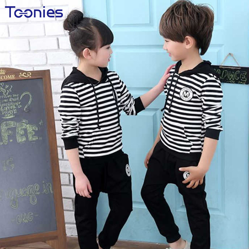 Cotton Children Sportswear 2pcs Boys Girls Pants Suit 2018 Spring Autumn Child Suits Long Sleeves Hooded Student Clothing Sets