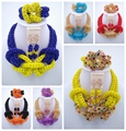 New Arrived! Women Crystal Necklace Bracelet Earrings Nigerian African Wedding Beads Bridal Jewelry Sets ALS005