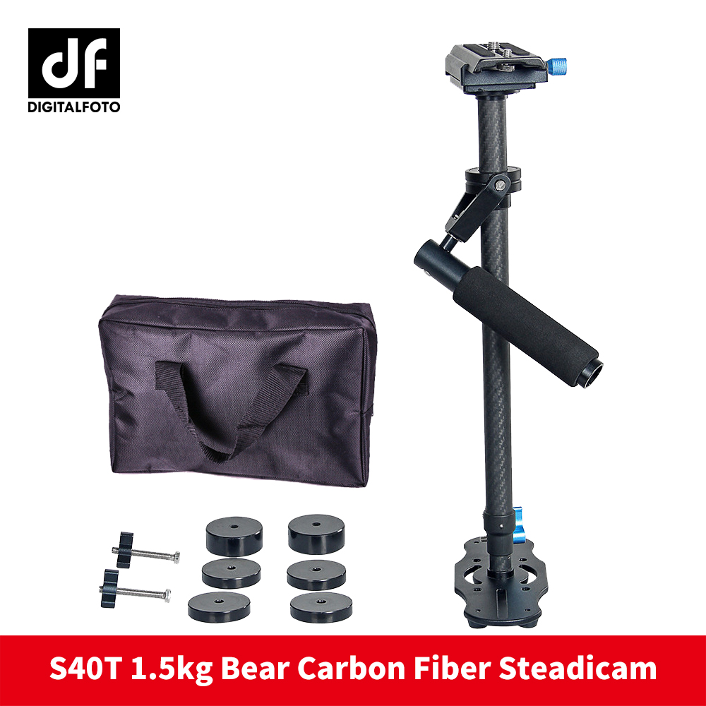 DIGITALFOTO Camera stabilizer S40T carbon fiber 5D2 handheld steadicam DSLR mini Rig video steadycam glidecam for Nikon Canon yelangu s40t professional carbon fiber handheld stabilizer steadicam for canon dslr camera dv camcorder sports camera