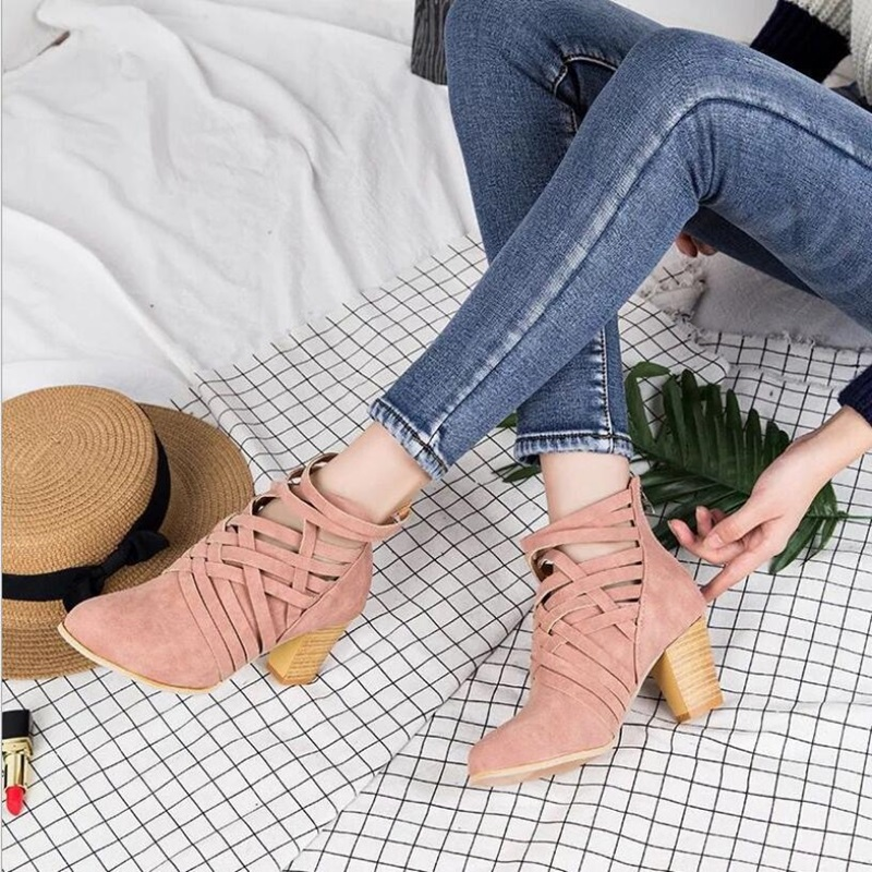 2018 autumn boots women suede sexy shallow boots top quality med heels ankle boots camel color casual shoes narrow band deco 2