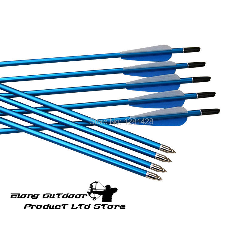 Free Shipping 12pcs 30 2018 Aluminum Arrow for hunting practice target bow outdoor , blue color shaft