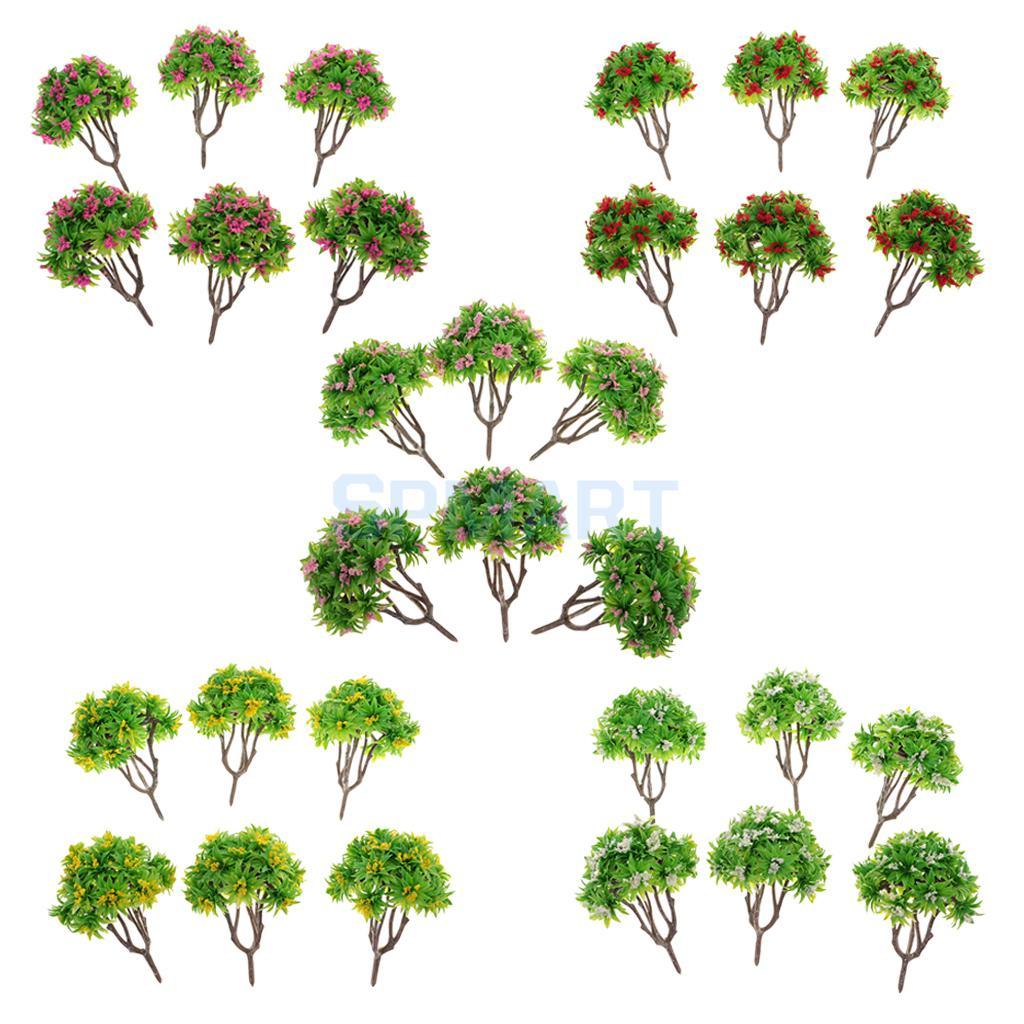 30pcs Plastic 1/100 Model Tree HO Gauge with Flower Layout Wargame Scene Diorama Railway Forest Landscape Accessory