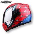 Nenki marca spiderman protector engranajes niño estrella mary ironman capacete casco de la moto cascos de la cara llena de doble lente casco de la motocicleta