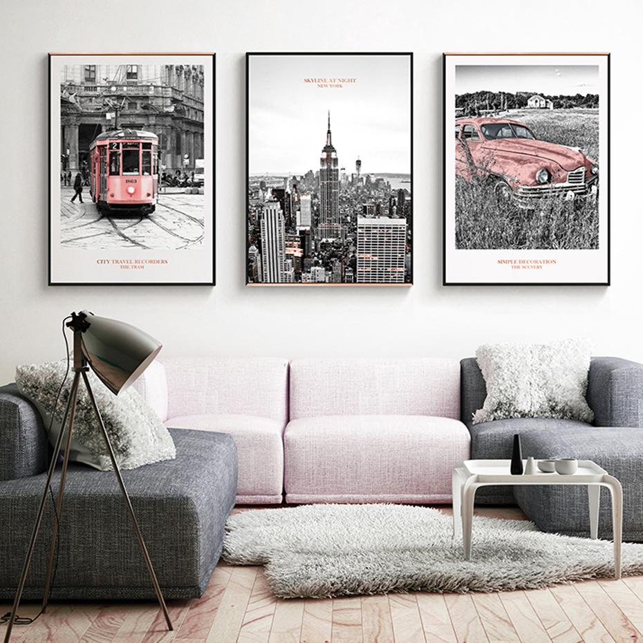 New York City Scene Pink Rail Transit Car Canvas Paintings Poster And Print Wall Art Picture For Living Room Home Decor Interior