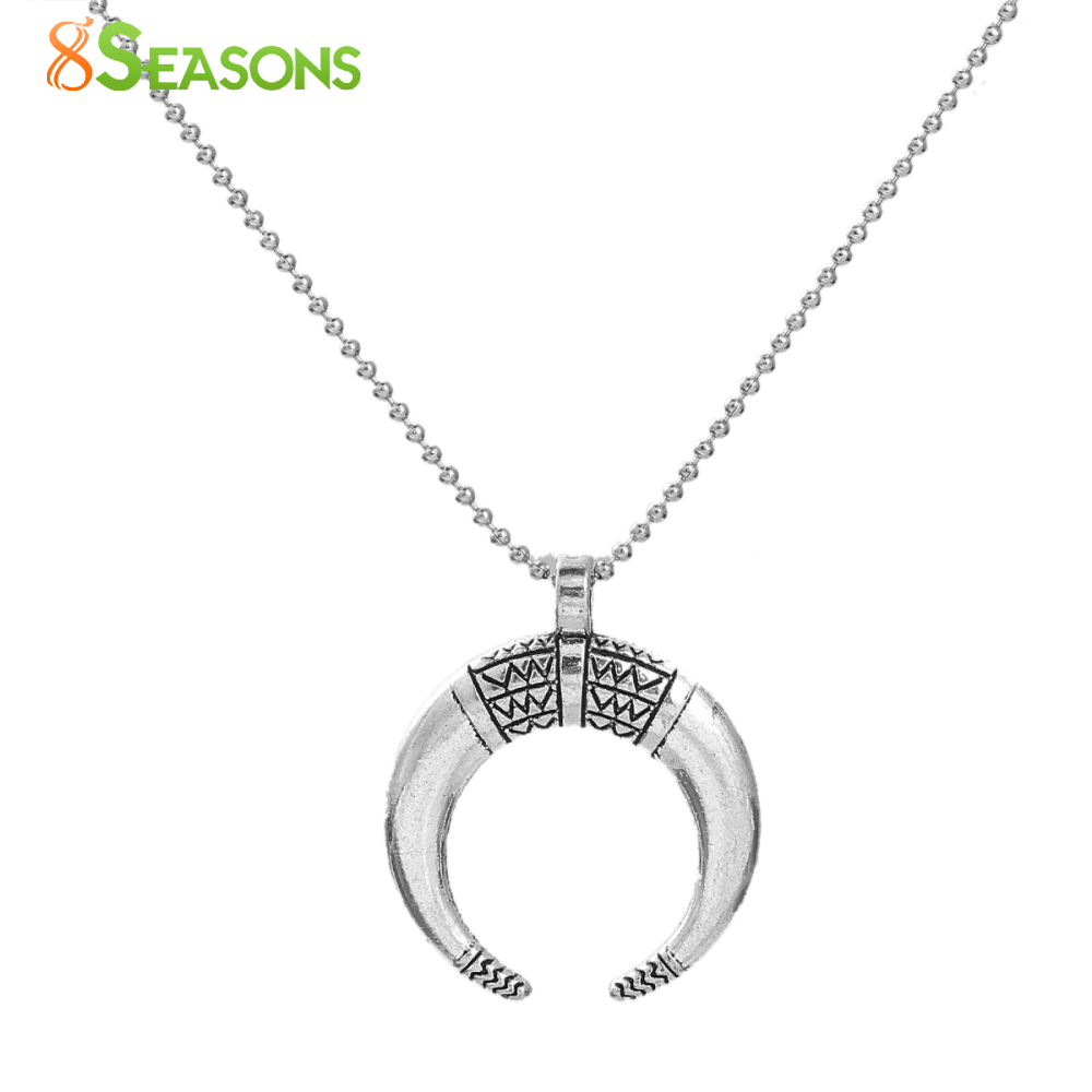 8SEASONS Handmade Copper Necklace Antique Silver Color Half Moon Cresent 53.5cm(21 1/8