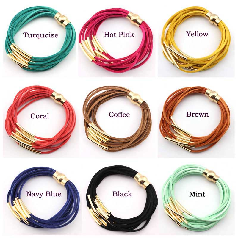 Wholesale Magnetic Clasp Bracelet 2016 New Fashion Jewelry Gold Multi Layer Copper Tube 12 Velvet Magnet Bracelets for Women