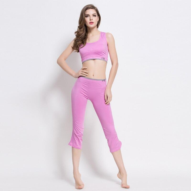 Women Pink Yoga Sets Running Sports Bra + Shorts Set