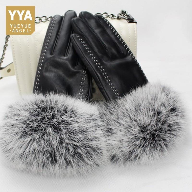 2019 nouveauté Femelle Gant De Luxe gants fourrés Pour Femmes Mode Solide Femme En Cuir Gants D'hiver Femelle Moto Guantes
