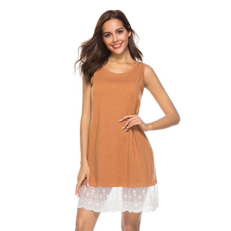 2019 Summer   Nightgown   Plus Size   Nightgowns     Sleepshirts   Sleeveless Lace Sleepwear Casual Home Wear Night Dress Sexy Nightshirt