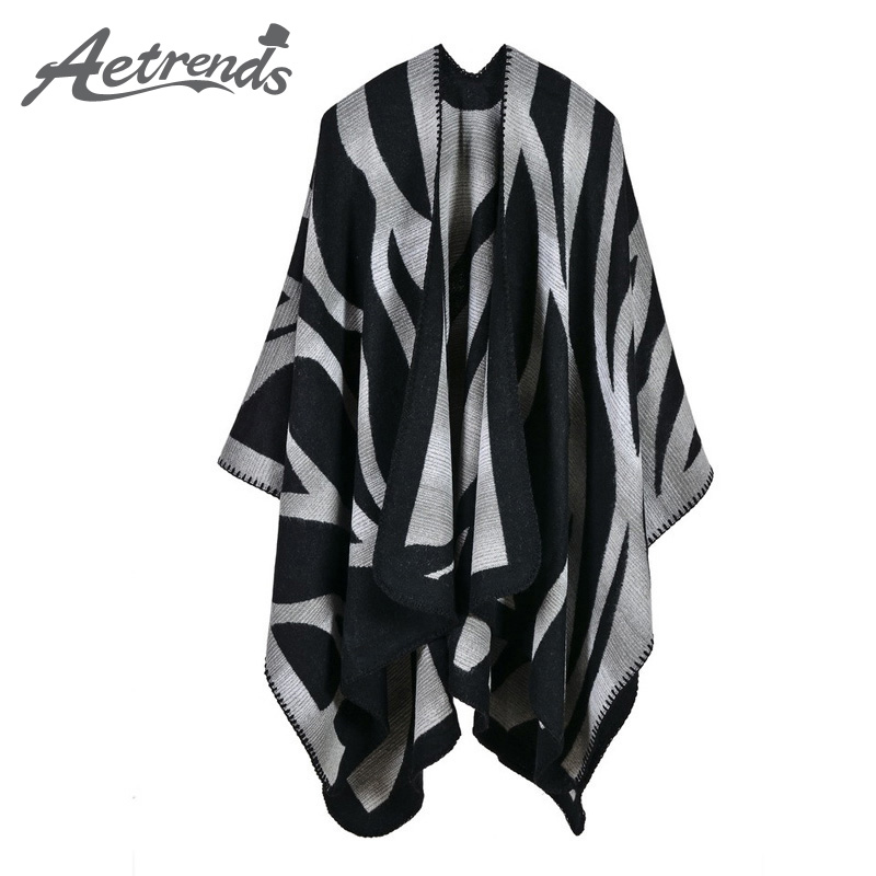 [AETRENDS] 2017 New Winter Scarves Cashmere Feel Scarf Women Poncho Cape Fashion Striped Design Z-3981