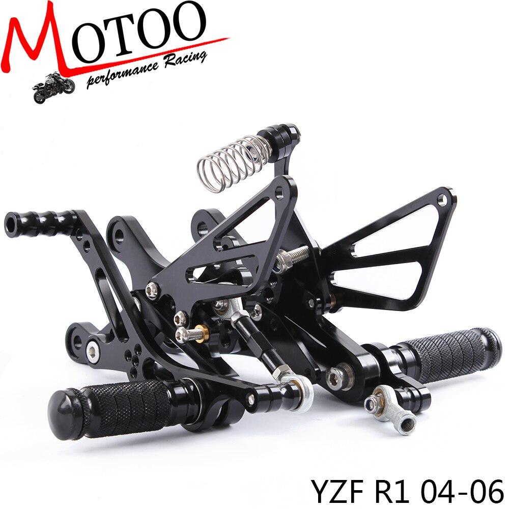 Motoo - Full CNC Aluminum Motorcycle Rear Sets Rear Set For YAMAHA YZF-R1   R1 2004-2006