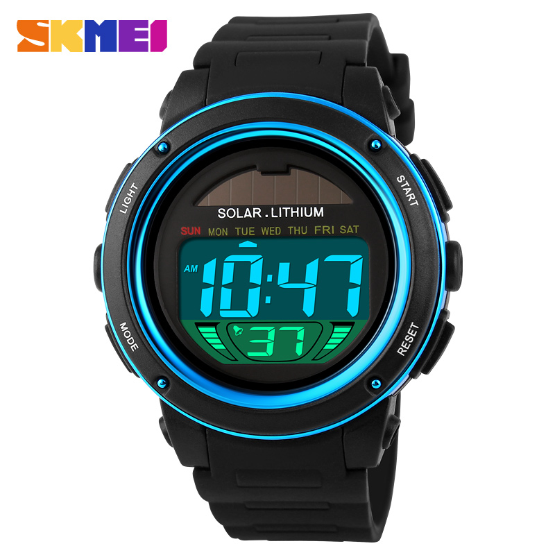 In Skmei Solar Digital Watch Men Energy Chronograph Sport Watches Water Resistance Outdoor Military Led Electronic Wristwatch 1096 Superior Quality