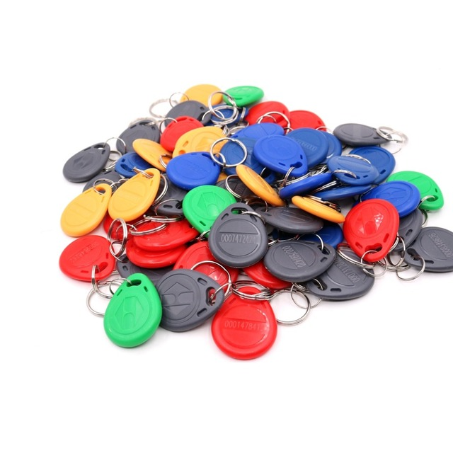 Color EM4100 125Khz Keyfobs  RFID Proximity ID Card Token Tags Key for Access Control Time Attendance