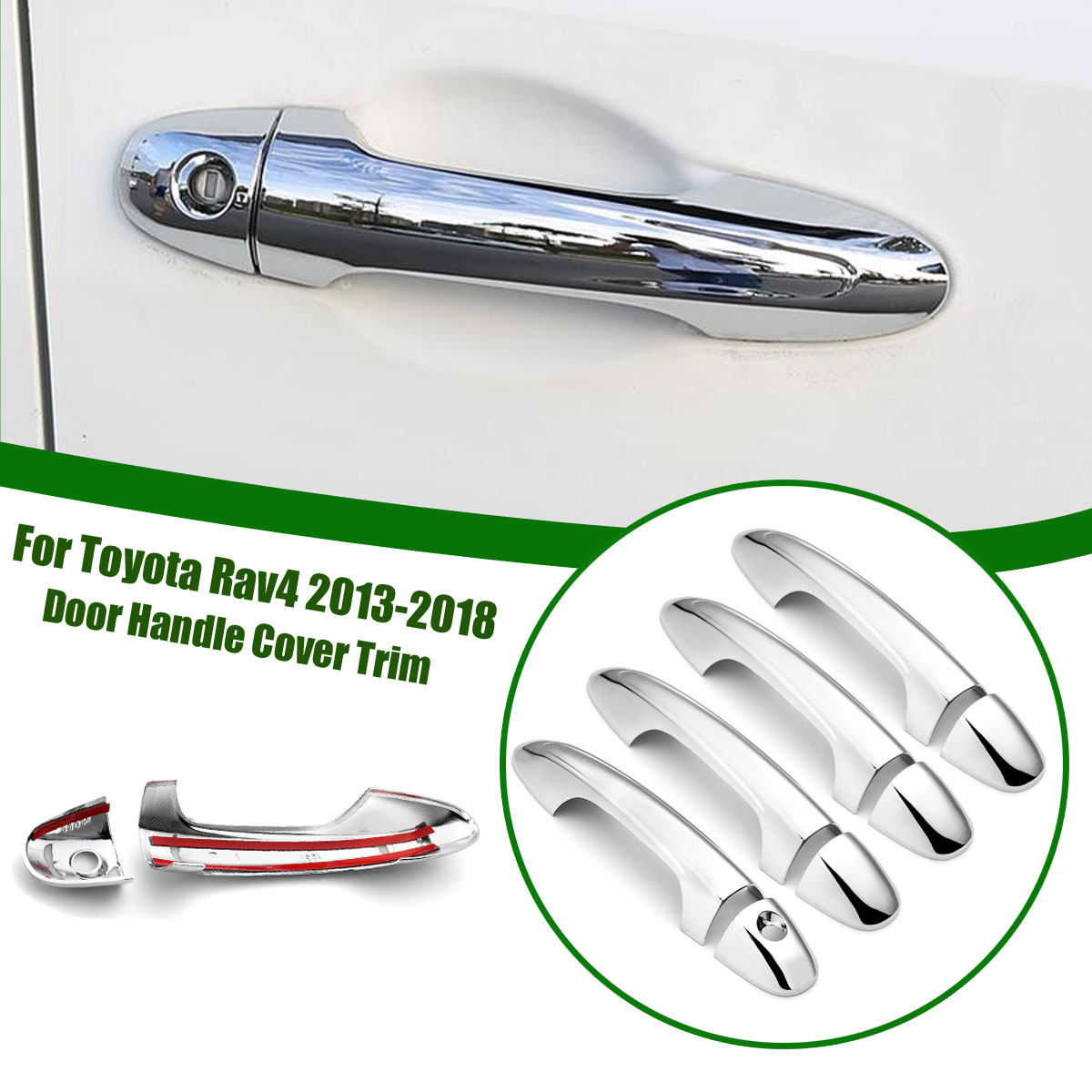8Pcs Door Handle Cover for Toyota Rav4 2013 2014 2015 2016 2017 2018 Chrome Trim