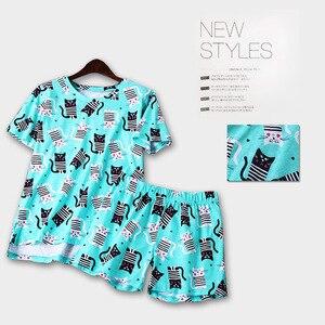 Image 2 - Lato piękne 100% bawełniane spodenki z krótkim rękawem zestaw piżamy wokół szyi drukowanie kreskówki kobiety Pijama Loungewear domowa bielizna nocna