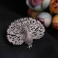 XIHA Mirco Pave CZ Zircon Pins and Brooches Peacock Animal Luxury Large Brooch for Women Men Suit Sweater Korean Fashion Jewelry