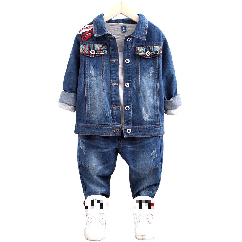 Children Denim Outwear Autumn Girls Clothes Set Toddler Kids Baby Outfits Long Sleeve Jeans Coat + Pant 2pcs Set For 3-12 Years  new 2015 autumn winter fashion baby kids boys long sleeve shirt jeans denim trousers set outfits 1 6y