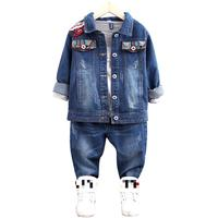 Children Denim Outwear Autumn Girls Clothes Set Toddler Kids Baby Outfits Long Sleeve Jeans Coat Pant