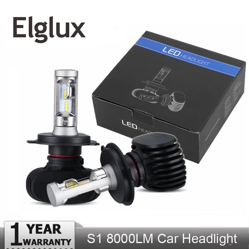 Elglux H11 <font><b>H4</b></font> H7 <font><b>Led</b></font> H1 Auto <font><b>Car</b></font> Headlight S1 50W 8000LM 6500K Automobile <font><b>Bulb</b></font> All In One CSP Lumileds Lamp image