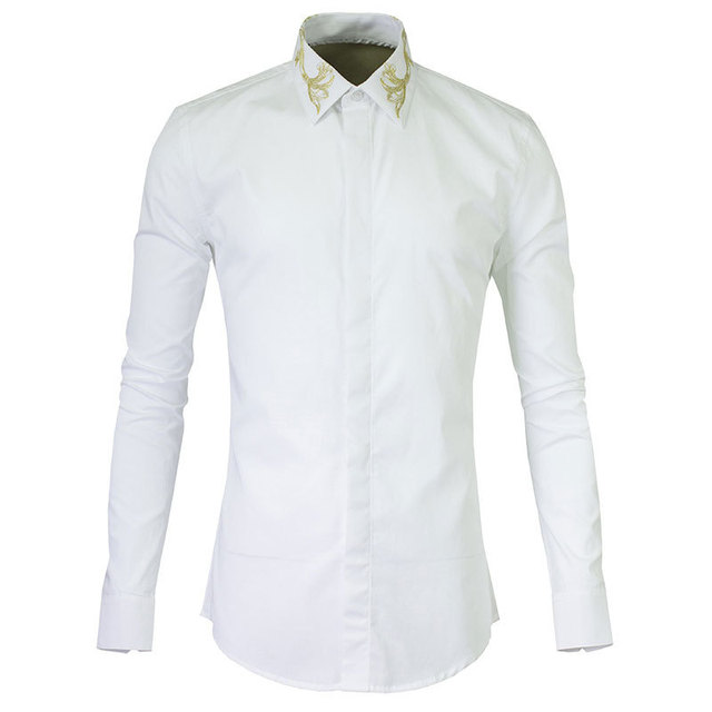 Mens Slim Fit Long Sleeve Dress Shirts Autumn Casual Golden Embroidery  Chemise Homme Luxury Brand Men