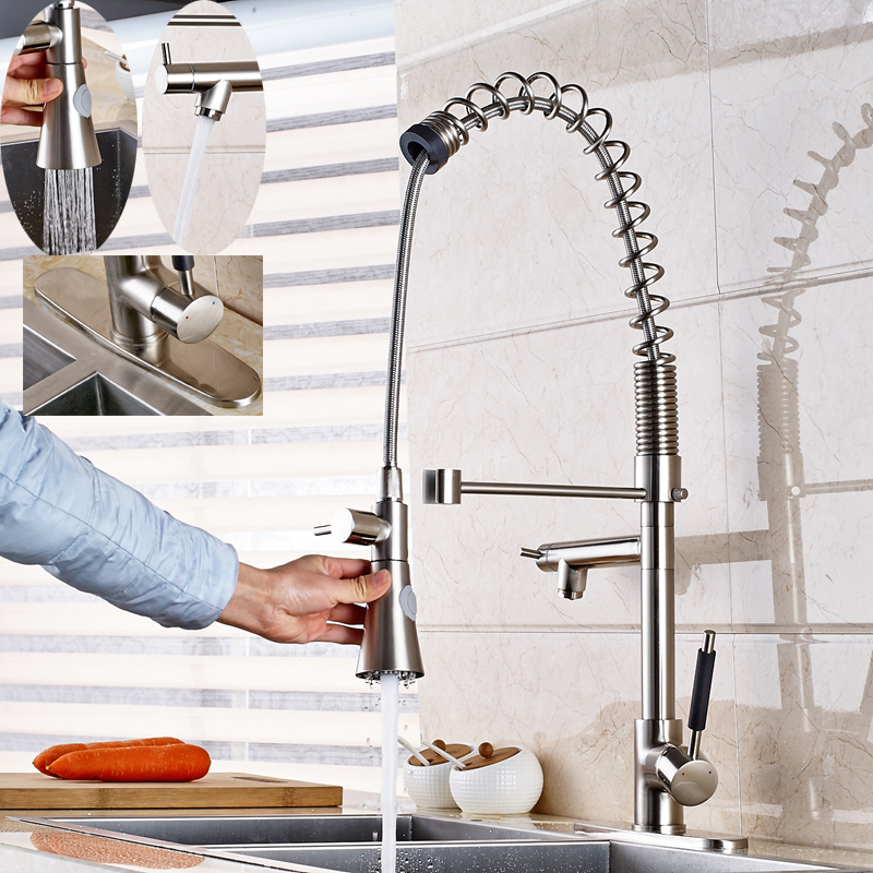 Large Spring Two Swivel Spouts Single Handle Kitchen Faucet Mixer W/Cover  Plate In Kitchen Faucets From Home Improvement On Aliexpress.com | Alibaba  Group
