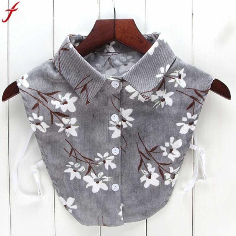 2018 Frauen Neue Print Floral Bluse Gefälschte Kragen Für Frauen Männer Drehen Unten Kragen Hemd Abnehmbarer Kragen Kleidung Tops Camisa Waren Jeder Beschreibung Sind VerfüGbar
