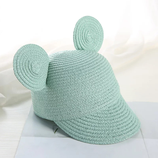 2019 Cute Child Girls Straw hat Bowknot Sun Hat Kids Large Brim Beach Summer Boater Beach Ribbon Round Flat Top fedora hat