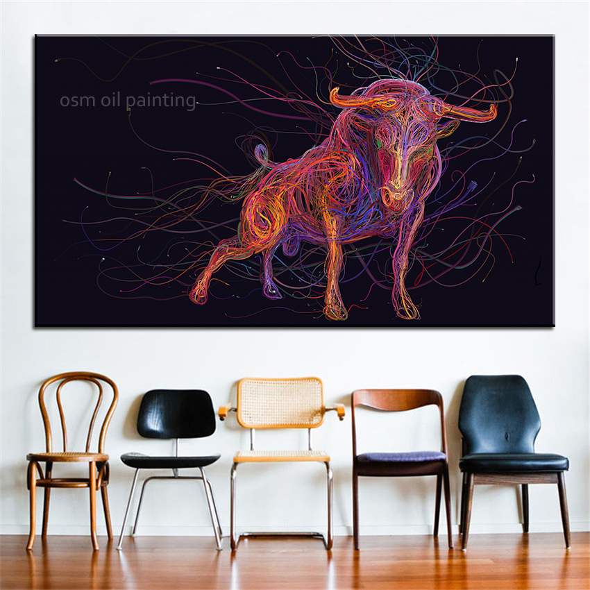 Customized X Size Hand Painted Modern Abstract Animal on Canvas Painting Cow Pictures Wall Art Colorful Bull Paintings
