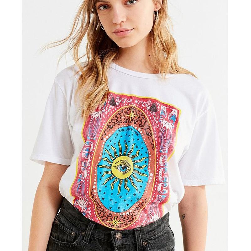 Gran Ojo de verano Camiseta de Impresión de Las Mujeres Elegantes - Ropa de mujer