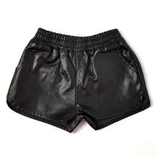 Новые летние шорты из искусственной кожи для маленьких девочек шорты для мальчиков из искусственной кожи шорты для малышей осенняя одежда для девочек, комплект для малышей От 2 до 13 лет, черный цвет, menina