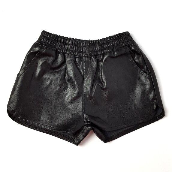 Verão novo bebê meninas shorts de couro falso pu meninos calções calções bebê infantis roupas de outono para a menina terno do bebê 2 -7 Y preto de menina