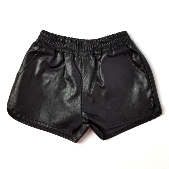 summer new fake leather baby girls shorts pu boys shorts infant baby shorts autumn clothes for girl baby suit 2-7 Y black menina image