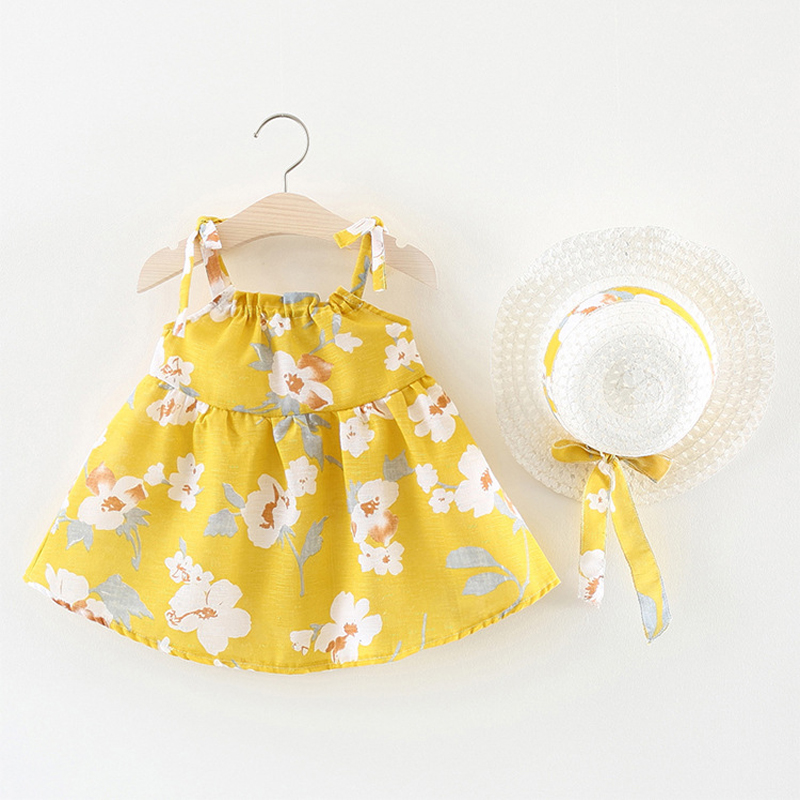 High Quality Summer Baby Girls Dress + Hat 2018 Girls Clothing Printed Flower Strap Style Princess Dress 2Pcs For Baby Clothes