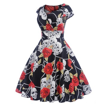 Women 1950s Vintage Rose Skull print Swing Dress