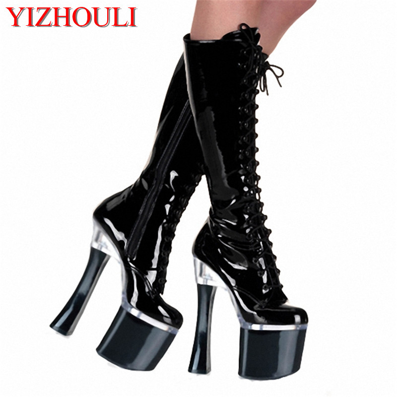2017 New Arrive Great Quality Thick Heel Lace up Platform High Heel Round Toe Fashion Knee High Boots in White/Black/Red marsnaska fashion new high quality white