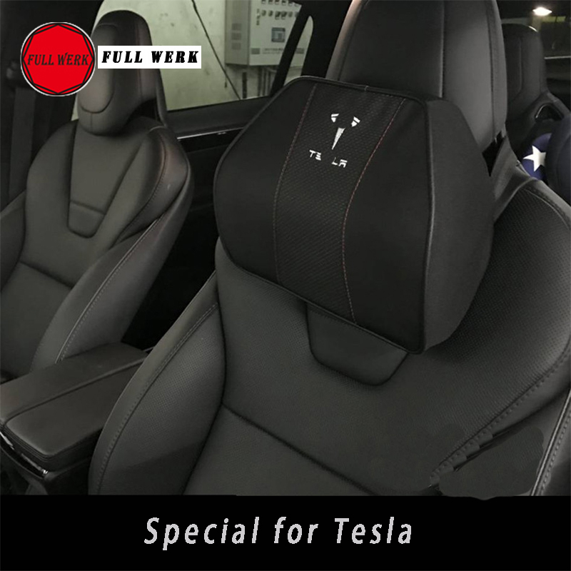 Car Styling Space Memory Foam Fabric Neck Pillow Seat Cover Headrest for Tesla Model S Model X Accessory with Embroidery Letters-in Neck Pillow from Automobiles & Motorcycles    1