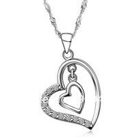 Collana di modo Dell'oro di Cristallo Cuore a Cuore Pendenti per Le Donne Signore Ragazza Dell'argento Sterlina 925 Collana di Gioielli Da Sposa Oro