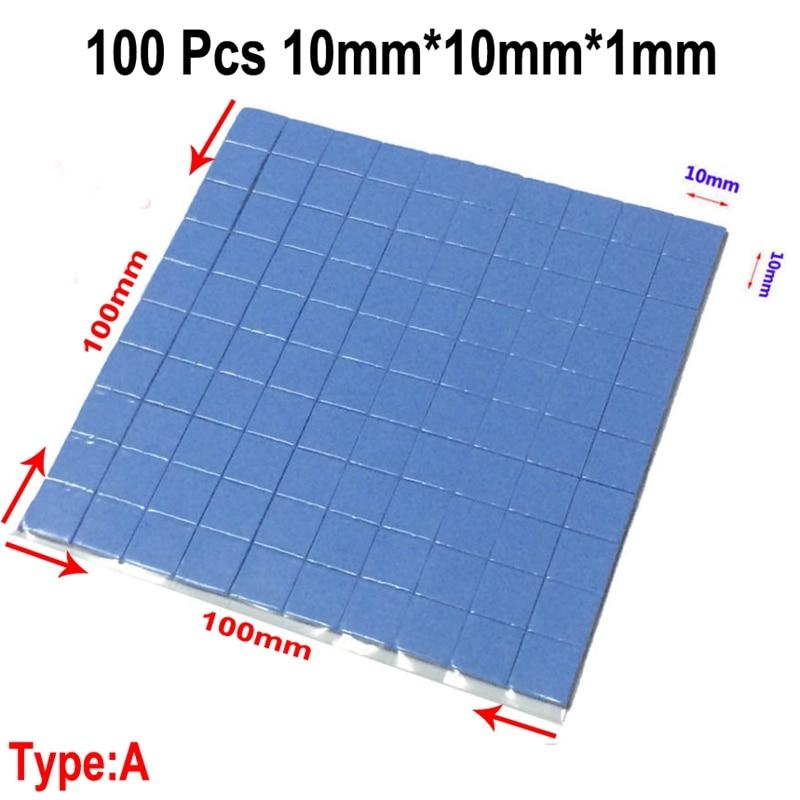 100 Pcs Blue 10mm*10mm*1mm GPU CPU Heatsink Cooling Conductive Silicone Pad Thermal Pad 2