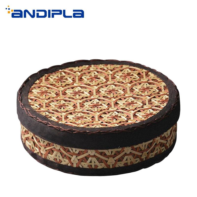 Art Bambou Tissage 357g thé Pu'er boîte avec couvercle De Stockage Kit Pu'er Thé support de gâteau Écrou plateau à fruit Plaque boîtes rondes Thé Accessoires